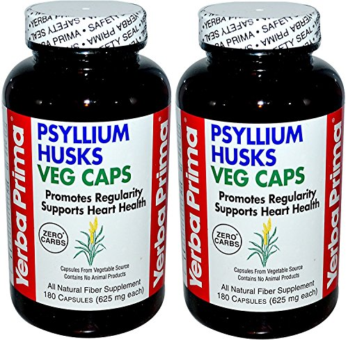 Yerba Prima Psyllium Husk Veg Capsule 180 Cap, 2 Pack by Yerba Prima