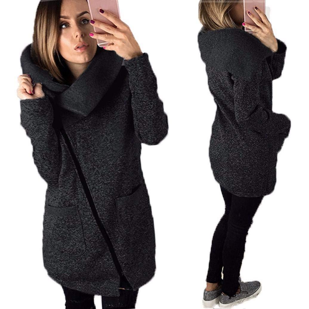 Gyoume Hoodie Sweater Coat Women Plus Size Jacket Sweater Jumpers Long Zipper Jacket Coat Pullovers