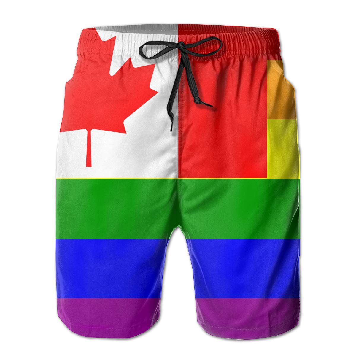 Canada Rainbow Flag Mens Quick Dry Beach Shorts Breathable Swim Trunks Board Shorts Pants