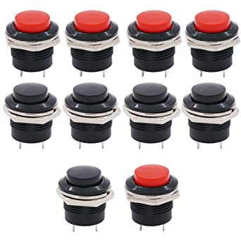 Twidec//6Pcs SPST AC250V//3A AC125V//6A Mini Off NO Momentary Push Button Switch Black Red with Pre-soldered Wires R13-507BKR-X ON