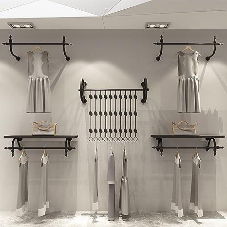 ZHIRONG Perchero de hierro Art Black Wall Perchero Estantes ...