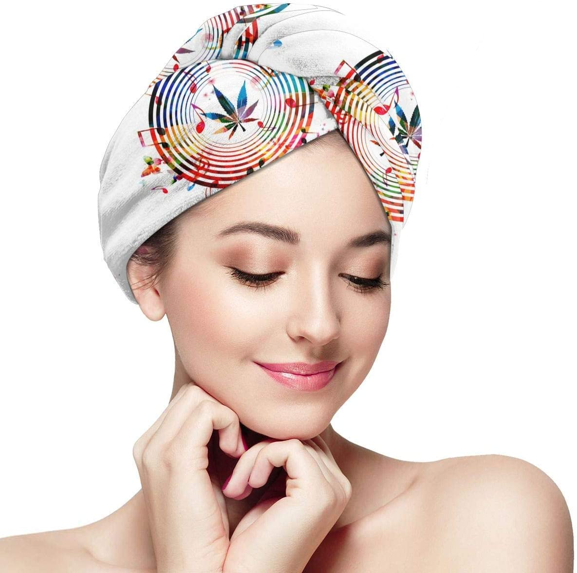 UXZTU Secador de pelo Cannabis Sativa Music Microfiber Dry Hair Hat Shower Caps Head Turban Towel