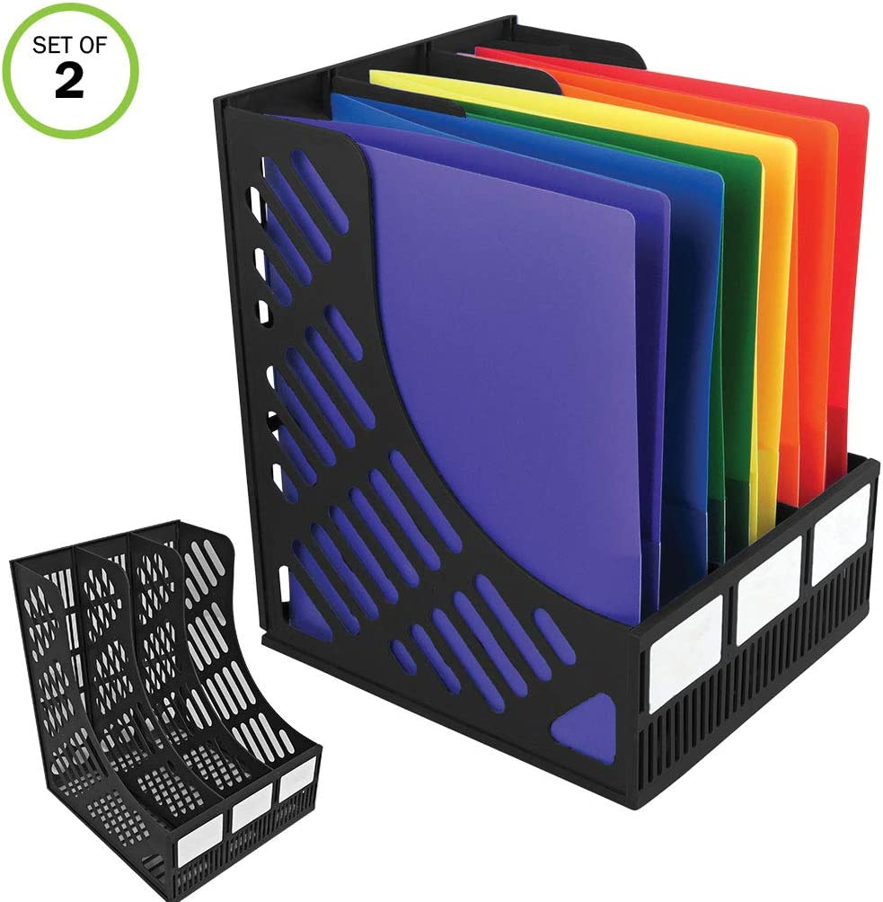 Evelots 3-Compartment File & Magazine Holder-Desktop/Organizer-Sturdy-Set/2