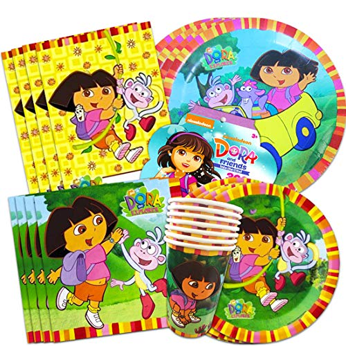 Dora the Explorer Party Supplies Ultimate Set ~ Birthday Party Decorations, Party Favors, Plates, Cups, Napkins and More (Dora Party Supplies)