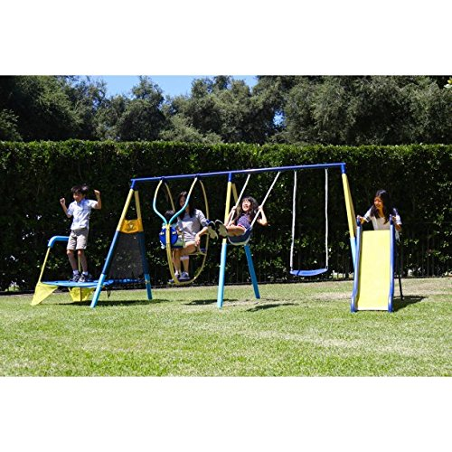 Toddler-And-Kids-Metal-Swing-Set-With-Slide-Swingsets-For-Children-Backyard-Playground-Outdoor-Swingset-Trampoline-Play-NEW