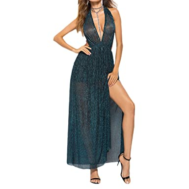 bc3080b1748 Zhhlaixing Sexy Deep V-Neck Halter Dress Women Sleeveless Stretch Ladies  Ball Gowns Long Evening Dresses  Amazon.co.uk  Clothing