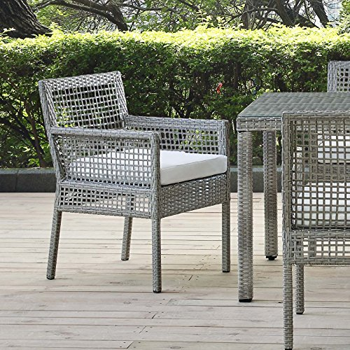 Modway EEI-2920-GRY-WHI Outdoor Patio Wicker Rattan Dining Armchair, Gray White (White Wicker Armchairs)