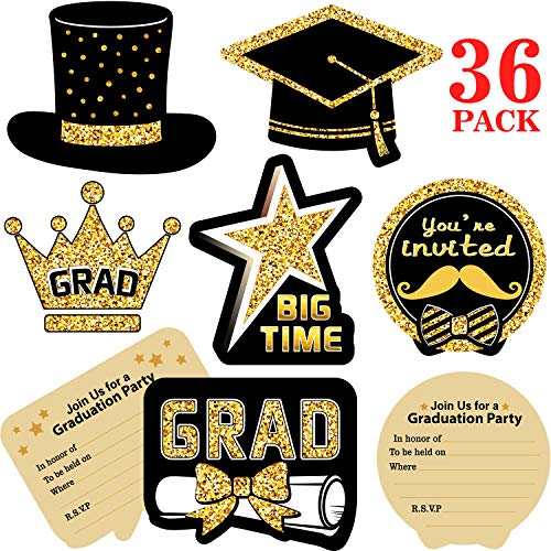 Blulu 2019 Graduation Party Invitations, 36 Pieces Graduation Invitation Cards with Envelopes and Stickers - Graduation Cards Celebration Announcement Cards for Graduates