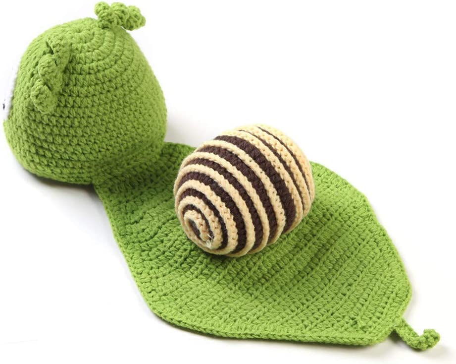 LX68LX 2020 New Newborn Green Snail Set Baby Handmade Costume Newborn Photography Props Knitbaby Hat Infant Baby Photo Props for 0-3m