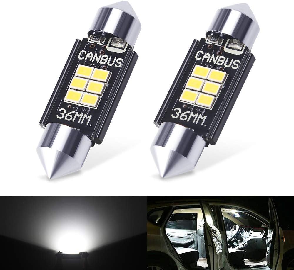 XINFOK White 6000K 400 Lumens 3020 Canbus Error Free LED Bulbs for Interior Car Lights License Plate Trunk Side Marker Courtesy 1.50