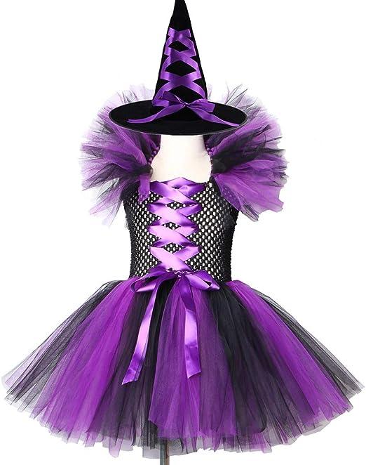 ZHANGWENXIN Vestido de tutú de Bruja Negro púrpura para niñas con ...
