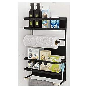 Kitchen Rack - Magnetic Fridge Organizer - 18.1x11.8x4.4 INCH - Paper Towel Holder, Rustproof Spice Jars Rack, Plastic Wrap holder, Refrigerator Shelf Storage Including 5 Removable Hook- 201 (Black)