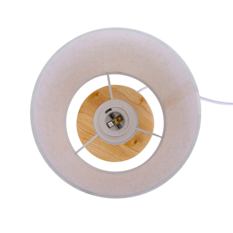 Rund Design Tischlampe Nachttischlampe Holz Und Stoffschirm Licht F