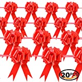 Star Quality Elegant Pull Bow for Gift Package | Glossy Gift Decoration Bow Great for Wedding, Birthday and Parties (6-1/2 inch, Glossy Red)