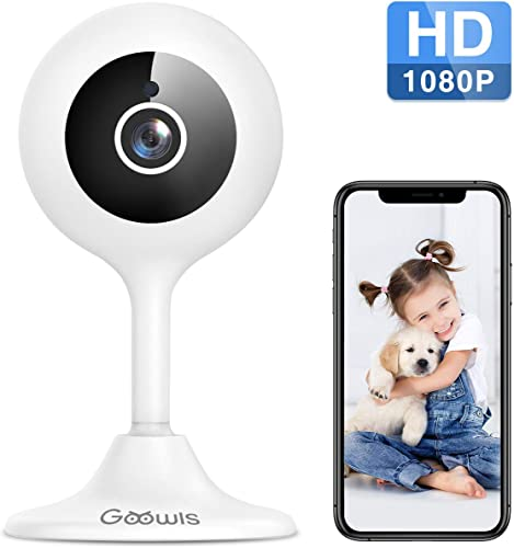 WiFi Camera Indoor, Goowls 1080p HD Home Security Camera 2.4GHz Wired IP Dog Camera for Baby Pet Nanny with Motion Detection Night Vision 2-Way Audio Cloud SD Card Storage Compatible with Alexa