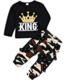 Toddler Baby Boy Clothes King Long Sleeve Black T-Shirt +Camo Pants Outfits Tops Set