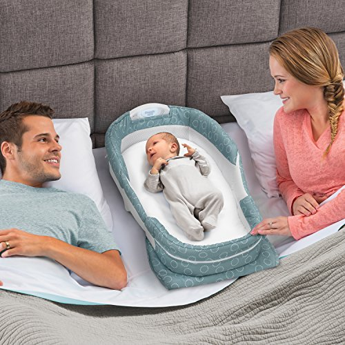Baby Delight Snuggle Nest Harmony Infant Sleeper/Baby Bed with Incline Wedge | Sea Green Rings Fabric Pattern | Portable Bassinet with Sound & Light Unit | Waterproof Foam Mattress w/Sheet