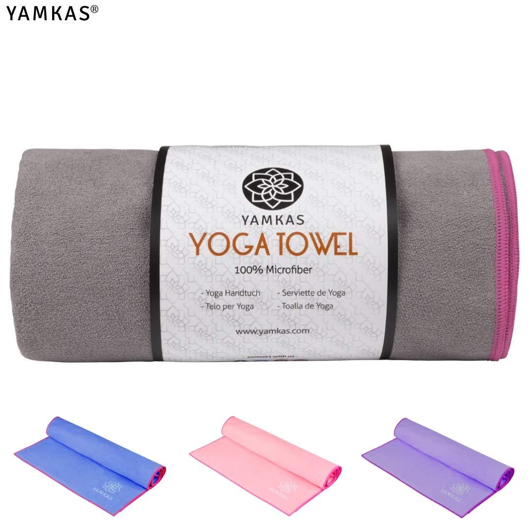Antideslizante 100/% Microfiber Towel Extra Larga Yamkas Toalla de Microfibra Estera de Yoga Mat- Ultra Absorbente 183x61cm pr/áctica para Pilates el Fitness Playa Gimnasio