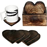 Wooden Coaster Set of 6 Love Heart Design Burned Coasters with Holder- For Tea & Coffee Cups, Mugs, Beverages, Glass Drink Mats
