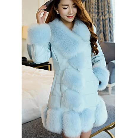 Amazon.com: Besde Womens Autumn and Winter Fashion Faux Fur Coat Plush Splice Outerwear Long Down Coat: Beauty