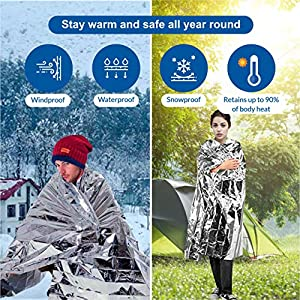 "Primacare HB-10 Emergency Foil Mylar Thermal Blanket (Pack of 10), 52"" Length x 84"" Width"