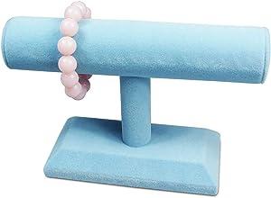 Mooca Bracelet Display Wood Jewelry Bracelet Display Holder, Hovering T-Bar Bracelet Jewelry Display for Home Organization, Single Piece, Deluxe Velvet 5 1/4 Inches Height, Blue