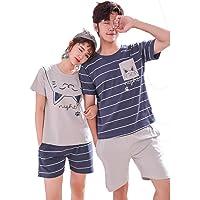 Couple Adult Summer Pajama sets, Cotton Short-Sleeved with Shorts Boys Girls Men Women Sleepwear/Loungewear/Casual Wear…