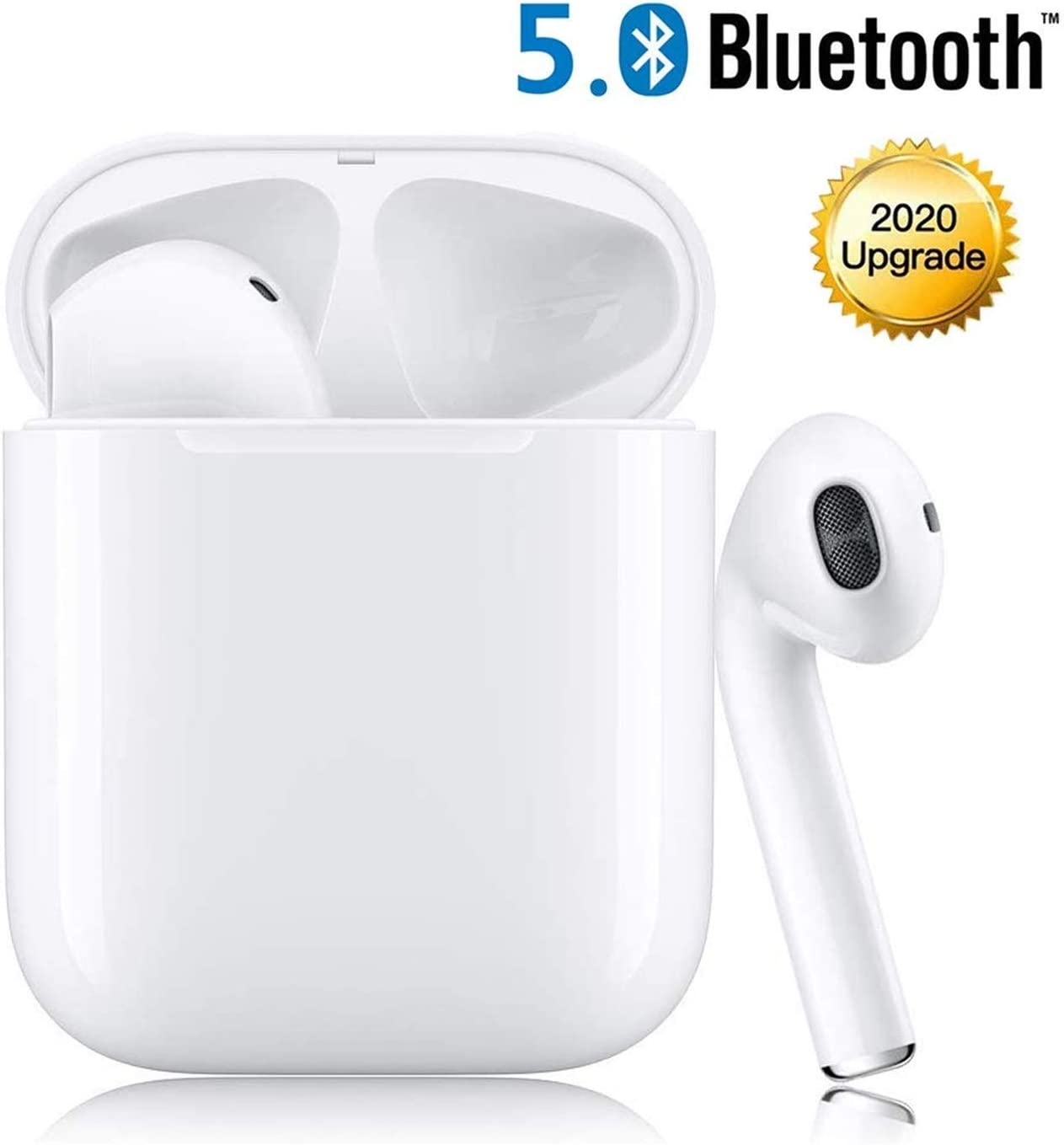 Bluetooth Wireless Earbuds Noise Canceling Sports Headphones with Charging Case IPX5 Waterproof Stereo Earphones in-Ear Built-in HD Mic Headsets for iPhone Android Samsung White
