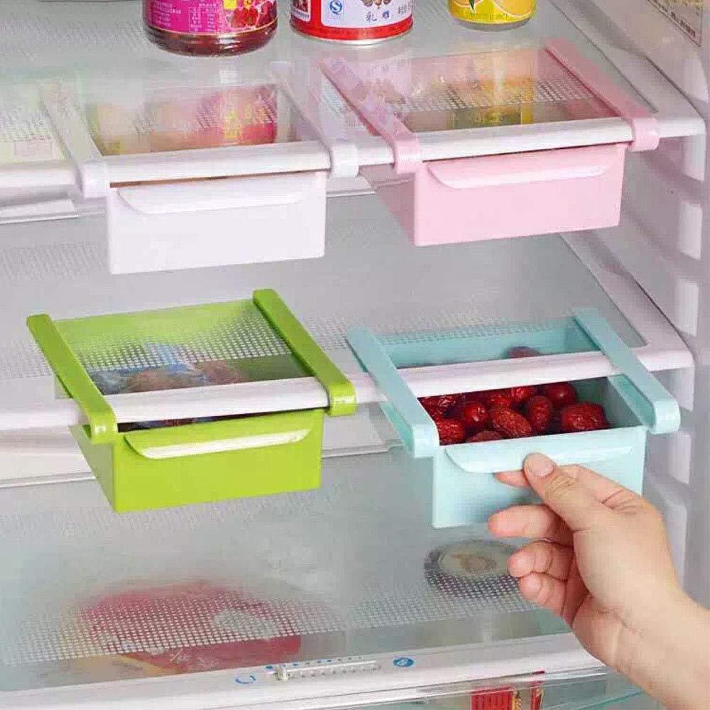 1PCS Fashion Kitchen Fridgezer Save Space Storage Rack Shelf Holder Drawer Convinient pink