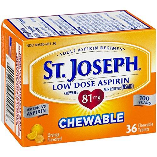 St. Joseph Orange Chewable 81mg Aspirin, 36 Tablets (Pack of 6)