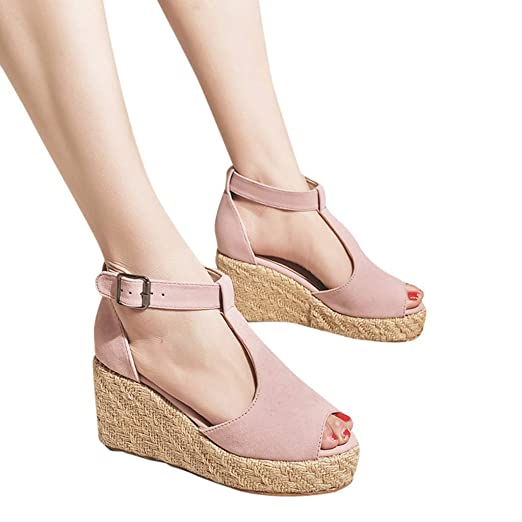 7b6a6e06dc8 Amazon.com  Gyouanime Womens Platform Sandals Shoes High Heel Wedge Buckle  Strap High Heel Platform Sandals Beach Shoes  Clothing