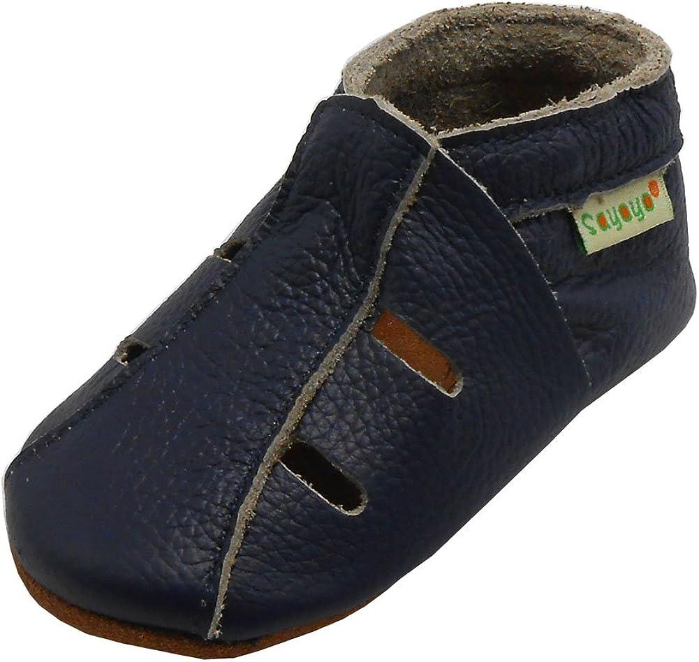 SAYOYO Baby Soft Sole Leather Infant Toddler Prewalker Grey Shoes Sandal