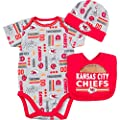 Kansas City Chiefs Baby / Infant Gerber Bodysuit, Bib, and Cap Set