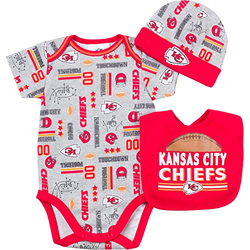 NFL Kansas City Chiefs Unisex-Baby Bodysuit, Bib & Cap Set, Gray, 0-3 Months ()