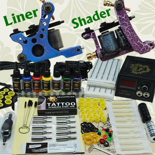 Professional Complete Tattoo Kit 2 Top Machine Gun 7 Color Ink 50 Needles Power Supply by Tattoo-Supply