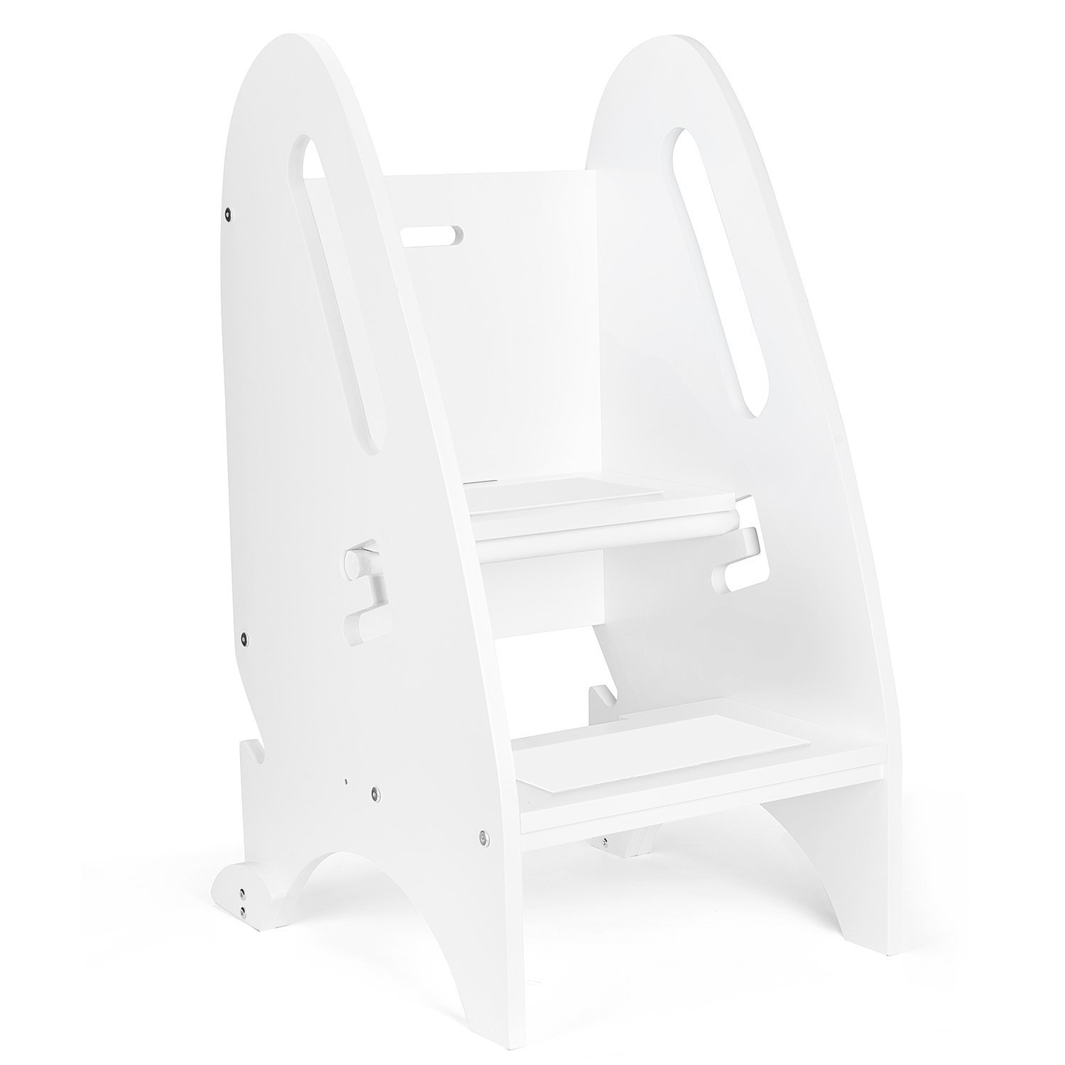 Acko Wooden Step Stool with Non- Slip Great for Both Toddlers & Adults–Perfect Height for Nursery, Kitchen or Bathroom.Holds Up To 264LBS (White Color)