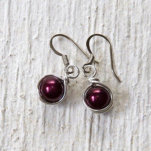 earl Wire Wrapped Dangle Earrings - Handmade Maroon Jewelry ()
