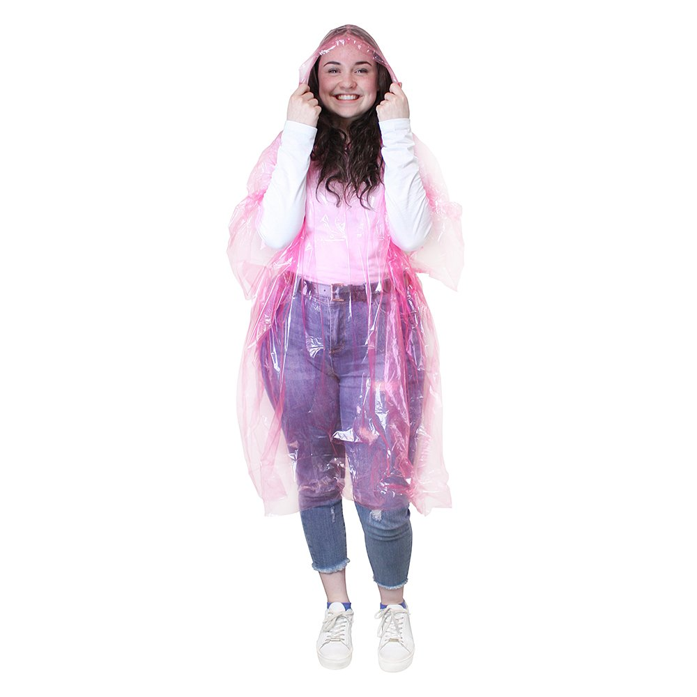 eBuyGB A Pack of 2 Adult Emergency Waterproof Rain Ponchos with Hoods - Festivals Theme Parks Pink One Size 1216531-2a