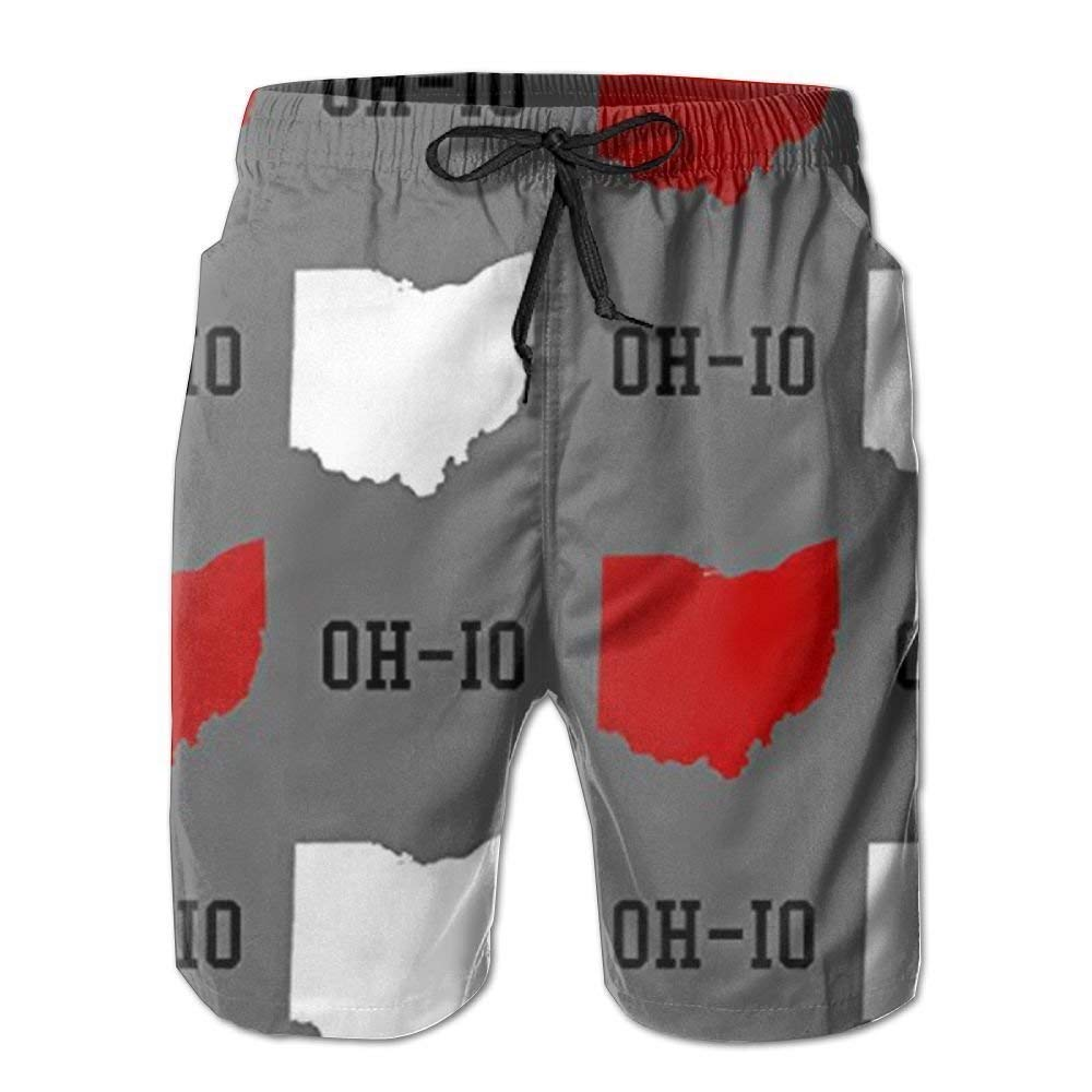 Oh-io State Gray Men Summer Quick Dry Beach Shorts Board Swim Trunks with Pocket