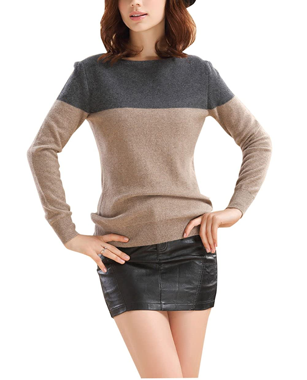Winfon Pull Femme Laine Maille Col Rond Casual Manches Longues Hiver Chaud Pullover Sweater Top Blouse