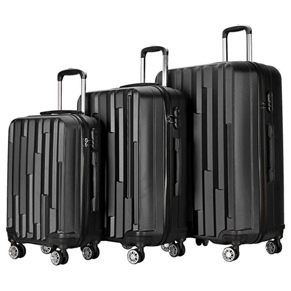 3 Pieces Spinner Wheels Luggage Sets Hardside Suitcase Rolling Trolley with Lock (Black)
