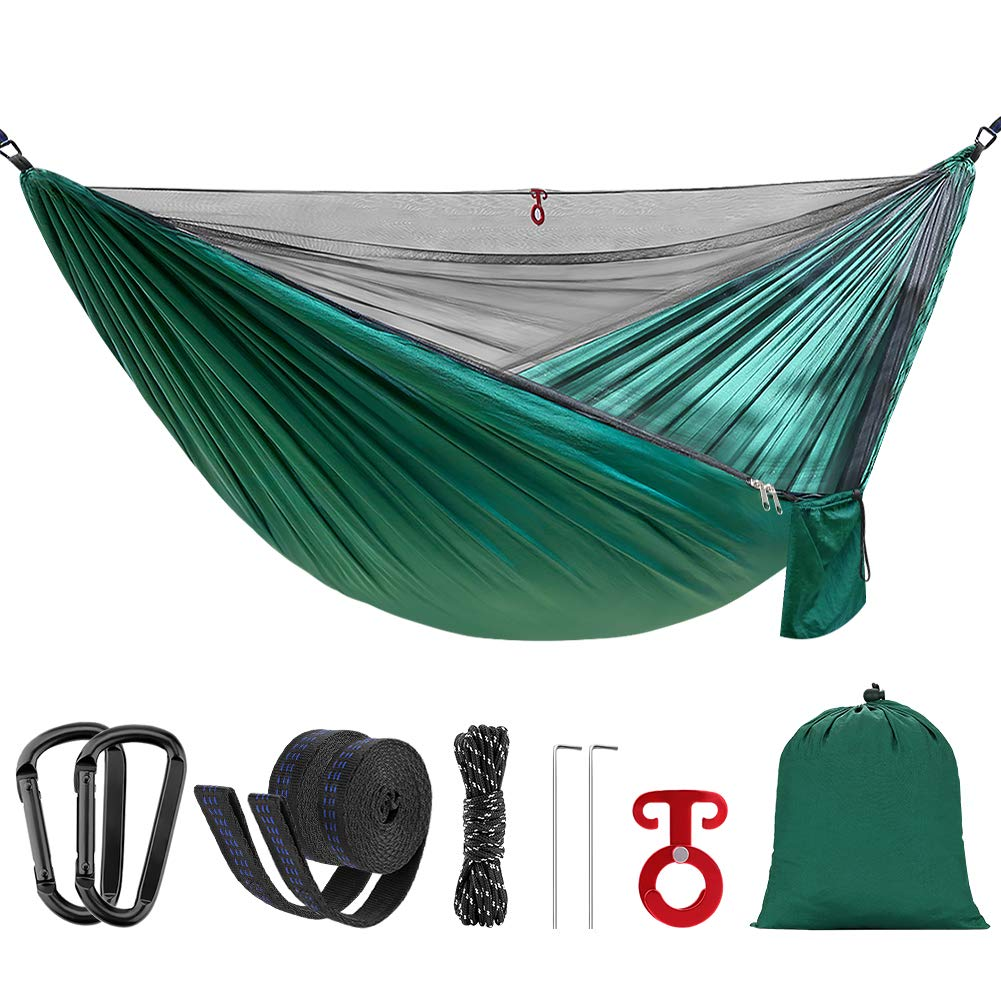 Double Single Camping Hammock,Portable Hammock with Mosquito Net and Tree Straps,Lightweight Parachute Nylon Hammock for Backpacking Travel Beach Yard Outdoor Indoor Dark Green