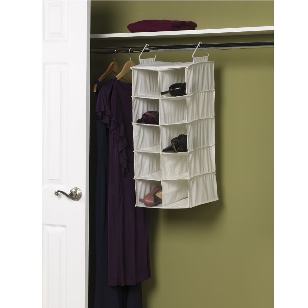 Amazon.com: Household Essentials 311344 10 Pocket Hanging Shoe Storage  Organizer For Closets | Natural Canvas: Home U0026 Kitchen