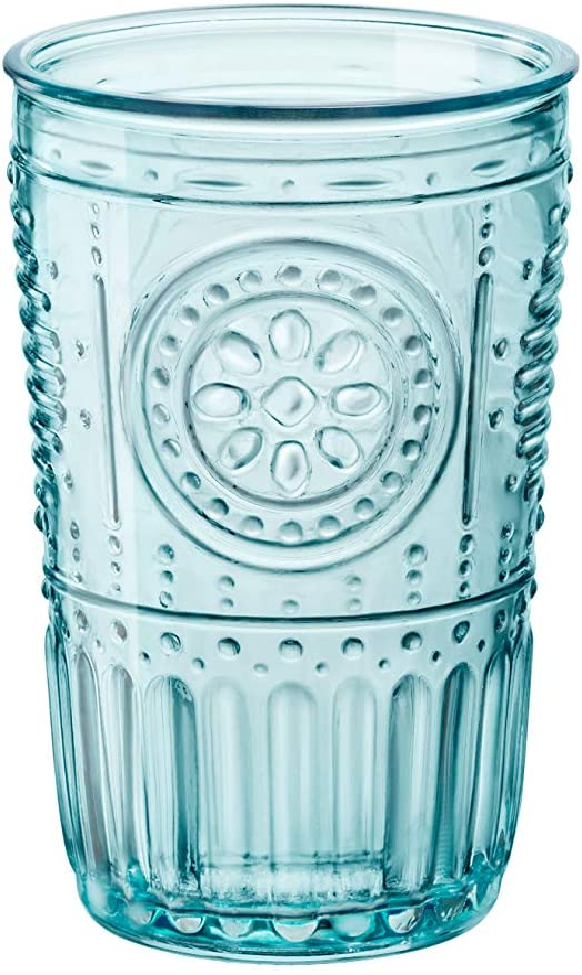Bormioli Rocco Romantic Tumbler ,10¼ oz, Set of 4, Light Blue