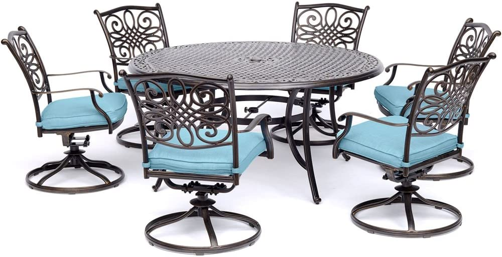 Hanover TRADDN7PCSWRD6 7-Piece Tan Six Swivel Rockers Traditions Dining Set with 60 Round Cast-top Table