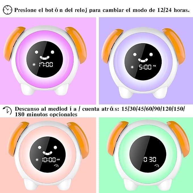 Despertador Infantil - 2019 Niños Entrenador de Dormir LED despertador luz Digital, 2400mAh Recargable con 2 Alarmas, 3 Modos, 6 Sonidos Naturales, 7 ...