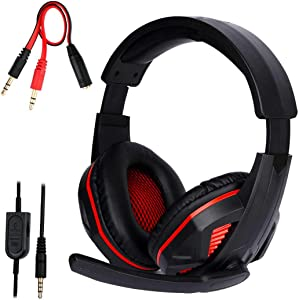 FNSHIP 3.5mm Port Wired Gaming Headset, Stereo Bass Noise Isolation Headphone with Mic Volume Control for PS4 New Xbox One PSP PC Laptop Tablet Cellphones (Black)