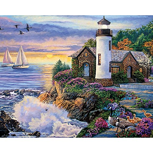 Bits and Pieces - 300 Large Piece Jigsaw Puzzle for Adults - Perfect Dawn, Sunrise by the Ocean - by Artist Laura Glen Lawson - 300 pc Jigsaw