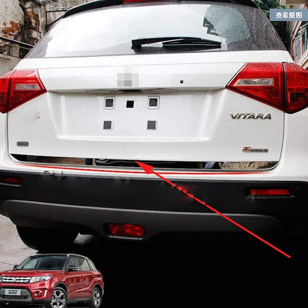 LSYBB Portellone Sportello Posteriore Inferiore di Copertura Modanatura in Acciaio Inox Back Door Trim Auto Accessori per La Suzuki Vitara 2019 2018 2017