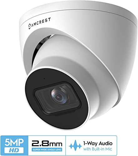 Amcrest 5MP UltraHD Outdoor Security IP Turret PoE Camera with Mic Audio, 5-Megapixel, 98ft NightVision, 2.8mm Lens, IP67 Weatherproof, MicroSD Recording 256GB , White IP5M-T1179EW-28MM